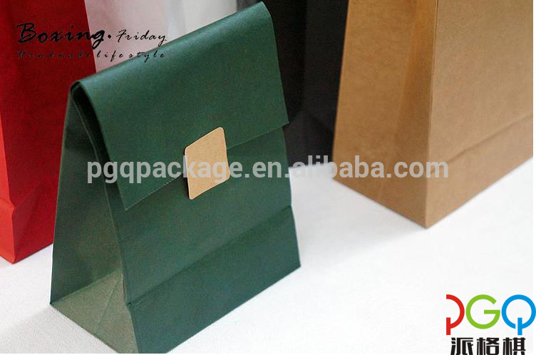 Customised colorful biodegradable folding food brown paper bag